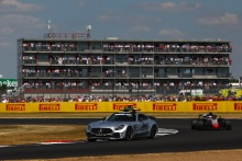 The Mercedes Safety Car leads the cars