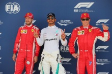 Qualifying top 3, (L-R) Sebastian Vettel, Ferrari, Lewis Hamilton, Mercedes AMG F1, Kimi Raikkonen, Ferrari