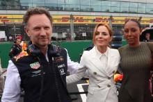 Christian Horner (GBR), Geri Horner (GBR) and Mel B (GBR)
