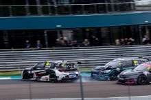 Glynn Geddie (GBR) - Team HARD Cupra Leon, Andy Neate (GBR) - Motorbase Performance Ford Focus ST and Jade Edwards (GBR) - BTC Racing Honda Civic Type R are involved in an accident at the start of Race 2