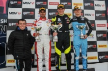 Race 1 Podium (l-r) Kush Maini (IND) Lanan Racing BRDC British F3, Linus Lundqvist (SWE) Double R BRDC British F3, Jamie Chadwick (GBR) Douglas Motorsport BRDC British F3