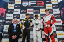 Race 2 Podium (l-r) Sun Yue Yang (CHN) Carlin BRDC British F3, Pavan Ravishankar (IND) Double R BRDC British F3, Tom Gamble (GBR) Fortec Motorsports BRDC British F3