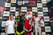 Race 3 Podium (l-r) Linus Lundqvist (SWE) Double R BRDC British F3, Tom Gamble (GBR) Fortec Motorsports BRDC British F3, Kush Maini (IND) Lanan Racing BRDC British F3