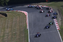 Start of the race - Nicolai Kjaergaard (DEN) Carlin BRDC British F3 leads