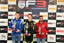 BRDC British F3 Championship Top 3 (l-r) Nicolai Kjaergaard (DEN) Carlin BRDC British F3, Linus Lundqvist (SWE) Double R BRDC British F3, Kush Maini (IND) Lanan Racing BRDC British F3