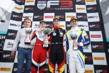 Matt Parry, Johnathan Hoggard (GBR) Fortec Motorsports BRDC F3, Ayrton Simmons (GBR) Chris Dittmann Racing BRDC F3 and Kaylen Frederick (USA) Carlin BRDC F3