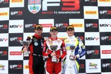 Race 1 Podium (l-r) Ayrton Simmons (GBR) Chris Dittmann Racing BRDC F3, Johnathan Hoggard (GBR) Fortec Motorsports BRDC F3, Kaylen Frederick (USA) Carlin BRDC F3