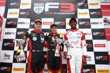 Race 2 Podium (l-r) Ayrton Simmons (GBR) Chris Dittmann Racing BRDC F3, Nazim Azman (MAL) Chris Dittmann Racing BRDC F3, Josh Mason (GBR) Lanan Racing BRDC F3