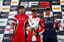 Race 2 Podium (l-r) Nicolas Varrone (ARG) Hillspeed BRDC F3, Manuel Maldonado (VEN) Fortec Motorsports BRDC F3, Clement Novalak (GBR) Carlin BRDC F3