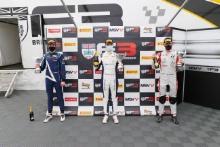 Podium, Oliver Bearman (GBR) - Fortec Motorsports BRDC F3, Zak O'Sullivan (GBR) - Carlin BRDC F3 and Reece Ushijima (USA) - Hitech GP BRDC F3