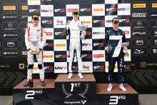 Reece Ushijima (USA) - Hitech GP BRDC F3, Zak O'Sullivan (GBR) - Carlin BRDC F3, Javier Sagrera Pont (ESP) - Elite Motorsport BRDC F3