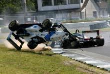 Salvador Duran (MEX), HiTech Dallara Mercedes rolls his car