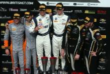 Race 2 GT4 Podium (l-r) Jordan Albert / Lewis Proctor Tolman Motorsport Ltd McLaren 570S GT4, Ben Green / Ben Tuck Century Motorsport BMW M4 GT4, Will Moore / Matt Nicoll-Jones Academy Motorsport Aston Martin V8 Vantage GT4
