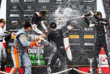 Podium (l-r) James Kell / Jordan Collard - Team Rocket RJN McLaren 570S GT4, Will Burns / Gus Burton - Century Motorsport BMW M4 GT4, Will Moore / Matt Cowley - Academy Motorsport Ford Mustang GT4