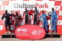 BRC Junior Podium (l-r) 78 Kyle White / Sean Topping - Peugeot208 R2, 41 William Creighton / Liam Regan - Ford Fiesta, 109 Chris McGurk / Liam McIntyre
