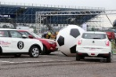 Silverstone Classic 2016, 29th-31st July, 2016,Silverstone Circuit, Northants, England. SsangYong Car Football with England, in the red of 1966, were represented by footballers John Barnes (c) and Steve Hodge as well as John Stiles (son ofNobby). The Germans – in white – lined up with ex-Formula 1 stars Damon Hill (c), Johnny Herbert and Anthony DavidsonCopyright Free for editorial use onlyMandatory credit – Jakob Ebrey Photography