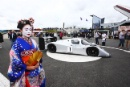 Silverstone Classic 28-30 July 2017 At the Home of British Motorsport GeneralA Geisha girl with the Sauber Mercedes C292Free for editorial use only Photo credit – JEP