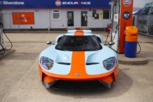 Silverstone Classic 2019Ford GT at Gulf Fuel StationAt the Home of British Motorsport. 26-28 July 2019Free for editorial use onlyPhoto credit – JEP