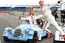 Chemmy Alcott (GBR) and Brendan Cole (GBR) Morgan Silverstone Classic Celebrity Race