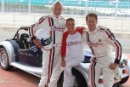 SIr Patrick Stewart, Nicola Stapleton and Brandan Cole Morgan Silverstone Classic Celebrity Race