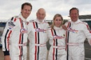 Brendan Cole, Sir Patrick Stewart, Vicky Gomersall and Tony Hirst Morgan Silverstone Classic Celebrity Race