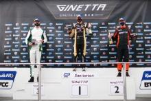 Race 2 Podium Gus Burton - Century Motorsport Ginetta G55, Adam Smalley - Elite Motorsport Ginetta G55 Will Burns - Rob Boston Racing Ginetta G55