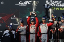 P1 Podium, #3 Rebellion Racing Rebellion R-13 - Gibson: Nathanael Berthon, Thomas Laurent, Gustavo Menezes