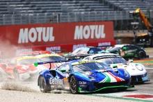 #47 Cetilar Racing Ferrari 488 GTE EVO: Roberto Lacorte, Giorgio Sernagiotto, Antonio Fuoco - Start