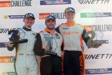Race 1 Podium (l-r) Alex Toth-Jones Richardson Racing Ginetta GT5, Geri Nicosia Optimum Motorsport Ginetta GT5, James Kellet Century Motorsport Ginetta GT5