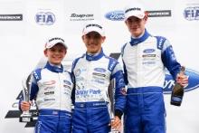 Alex Connor (GBR) Arden Motorsport British F4, Zane Maloney (BRB) Carlin British F4 and Bart Horsten (AUS) Arden Motorsport British F4