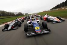 Nico Pino (CHL) - Argenti British F4, Mathias Zagazeta (PER) - Carlin British F4, Rafael Villagomez (MEX) - Fortec British F4