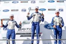 Race 1 Podium (l-r) Abbi Pulling (GBR) JHR F4, Matias Zagazeta (PER) Argenti, Oliver Gray (GBR) Fortec F4