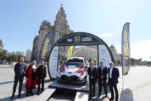 2019 Wales Rally GB Liverpool LaunchHuw Chambers, Peter Brennan, Louise Emery, Jonathan Palmer, Tim Jones and David Richards