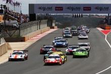 Start of the race, Dennis Olsen / Mathieu Jaminet / Nick Tandy - Frikadelli Racing Team Porsche 911 GT3 R leads