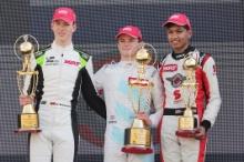 Race 3 Podium (l-r) David Schumacher, Bent Viscaal, Yuven Sundaramoorthy