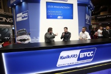 Senna Proctor (GBR) Excelr8 Motorsport on the Kwik Fit BTCC stand