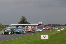 Start of the race, Richard Neary / Sam Neary - Team Abba Racing Mercedes AMG GT3 leads froom John Dhillon  / Phil Quaife - Scott Sport Lamborgini Huracan GT3