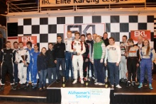 Podium (l-r) Titan Motorsport, Team Avago and Tockwith with Jo Wheldon and the Alzheimer's Society ambassadors