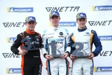 Podium, Jonny Wilkinson Elite Motorsport Ginetta Junior, Louis Foster Elite Motorsport Ginetta Junior and James Taylor Ginetta Junior Richardson Racing