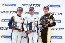Podium James Taylor Ginetta Junior Louis Foster (GBR) Elite Motorsport Ginetta Junior Adam Smalley Elite Motorsport Ginetta Junior