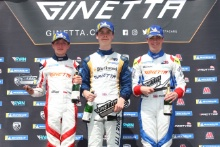 Podium Race 1 Roman Bilinski  / Rushforth Ginetta Junior Casper Stevenson /Richardson Racing Ginetta Junior Josh Rattican R Racing / In2Racing Ginetta Junior