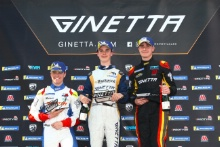 Podium Race 2 Roman Bilinski  / Rushforth Ginetta Junior Casper Stevenson /Richardson Racing Ginetta Junior Joel Pearson / Elite Motorsport Ginetta Junior