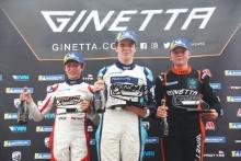 Roman Bilinski Al Rushforth Motorsport Ginetta JuniorZak O'Sullivan Douglas Motorsport Ginetta Junior James Hedley Elite Motorsport Ginetta Junior