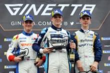 Race 3 Rookie Podium / Josh Rattican R Racing / In2Racing Ginetta Junior / Zak O'Sullivan / Douglas Motorsport Ginetta Junior / Casper Stevenson /Richardson Racing Ginetta Junior