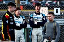 Joel Pearson R Racing Ginetta Junior, Freddie Tomlinson Douglas Motorsport Ginetta Junior, Bailey Voisin R Racing Ginetta Junior, Aston Millar R Racing Ginetta Junior