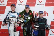 Race 3 Podium (l-r) Bailey Voisin R Racing Ginetta Junior, James Taylor Elite Motorsport Ginetta Junior, Aston Millar R Racing Ginetta Junior