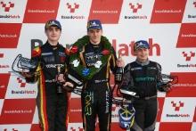 Race 4 Podium (l-r) Joel Pearson R Racing Ginetta Junior, James Taylor Elite Motorsport Ginetta Junior, Aston Millar R Racing Ginetta Junior