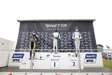 Race 1 Rookie Podium Josh Rowledge - Elite Motorsport Ginetta Junior Callum Voisin - R Racing Ginetta Junior Robert De Haan - Richardson Racing Ginetta Junior