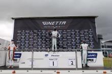 Race 2 Podium Seb Hopkins - Elite Motorsport Ginetta Junior Callum Voisin - R Racing Ginetta Junior Aston Millar - R Racing Ginetta Junior