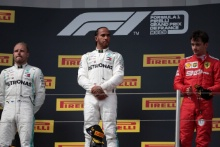23.06.2019 - Race, 1st place Lewis Hamilton (GBR) Mercedes AMG F1 W10, 2nd place Valtteri Bottas (FIN) Mercedes AMG F1 W010 and 3rd place Charles Leclerc (MON) Scuderia Ferrari SF90
